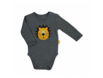 Dojčenské body s dlhým rukávom Nicol Prince Lion sivé