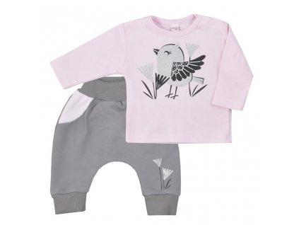Dojčenské bavlnené tepláčky a tričko Koala Birdy ružové
