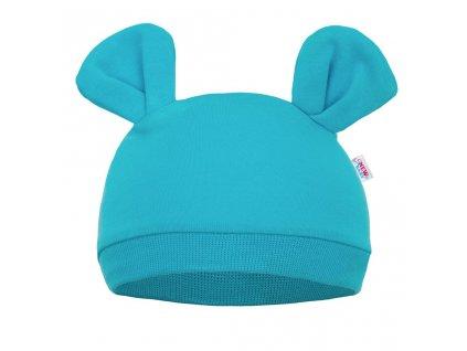 Dojčenská čiapočka New Baby Mouse tyrkysová