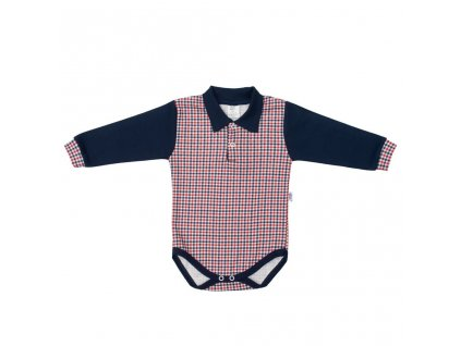 Dojčenské Polo body New Baby Checkered modré