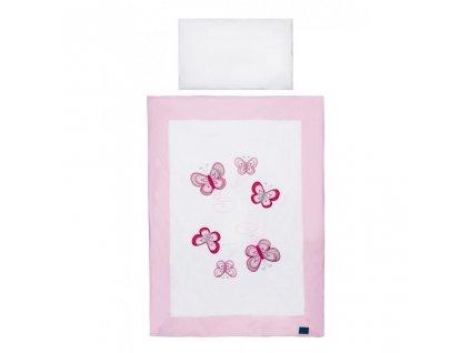 5-dielne posteľné obliečky Belisima Motýlik 100/135 ružové