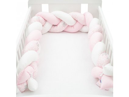 Ochranný mantinel do postieľky vrkoč New Baby Králičky rúžový