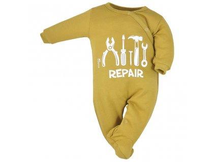 Dojčenský bavlnený overal Koala Repair oldgold