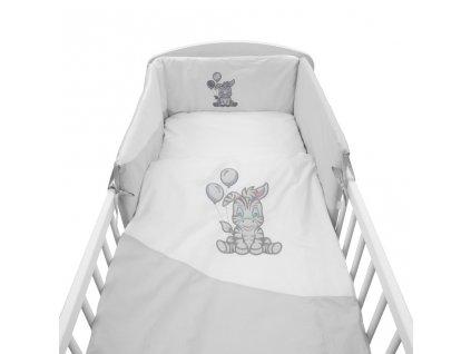 5-dielne posteľné obliečky New Baby Zebra exclusive 90/120 bielo-sivé