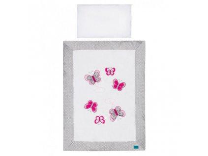 5-dielne posteľné obliečky Belisima Motýlik 100/135 šedé