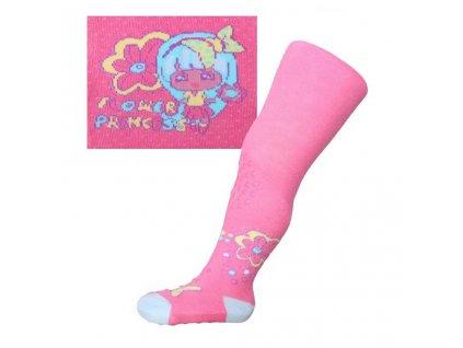 Bavlnené pančucháčky New Baby 3xABS ružové flower princess