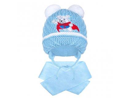 Zimná detská čiapočka so šálom New Baby medvedík J bledo modrá