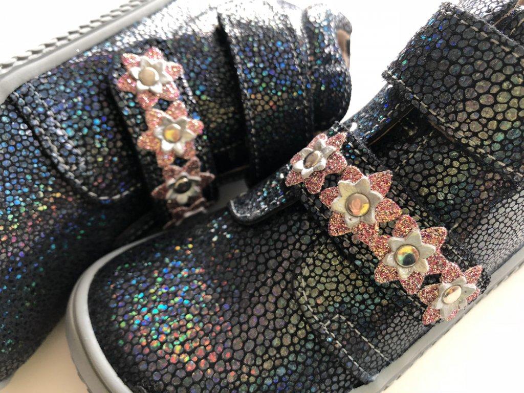 Kožené topánky ocean glitter flower M - bububu.sk bf83efc5a19