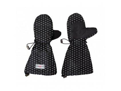 rukavice youth mittz polka dot black white