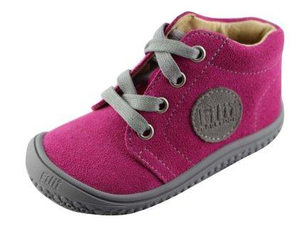 Kožené topánky pink/velour M, šnúrovacie
