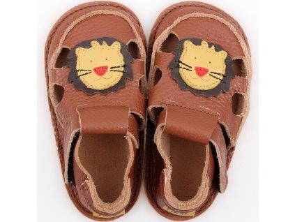 barefoot kids sandals brown lion 9549 4
