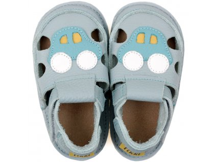 barefoot kids sandals blue car 10429 4