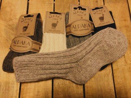 Detské hrubé ponožky Alpaka Natur - prírodné odtiene, 2 páry