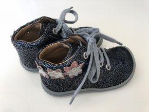 Kožené topánky ocean/glitter/velour M, šnúrovacie