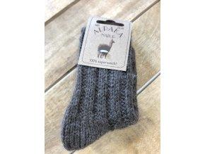 Detské hrubé ponožky Alpaka Natur - brown