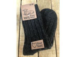 100% Vlnené ponožky - antracit - 2 páry