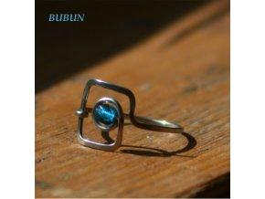 Prsten čtvercák modrý