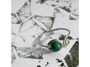 prsten zelený malachit I