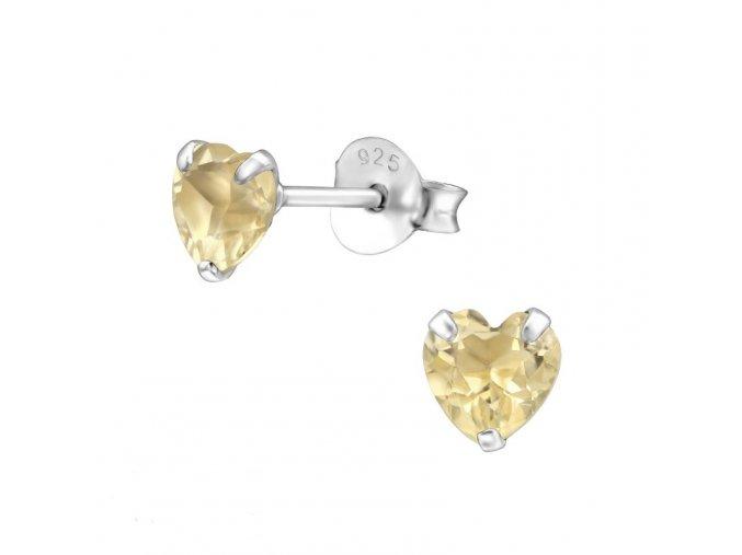 Puzetové náušnice s citrínem - srdce