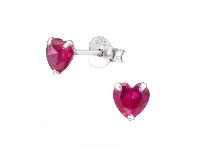 Puzetové náušnice s rubínem - srdce