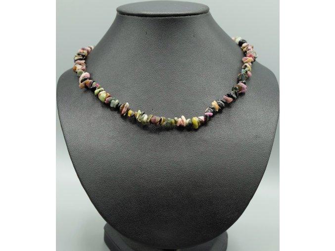 Melounový turmalín náhrdelník sekaný
