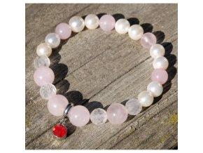 Něžný náramek z růženínu a perleti
