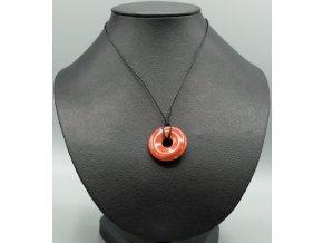 Červený jaspis donut náhrdelník