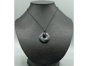 Vločkový obsidián donut náhrdelník