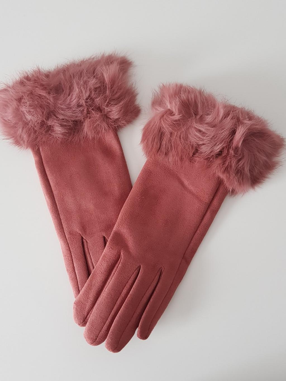 Rukavice pink s kožíškem