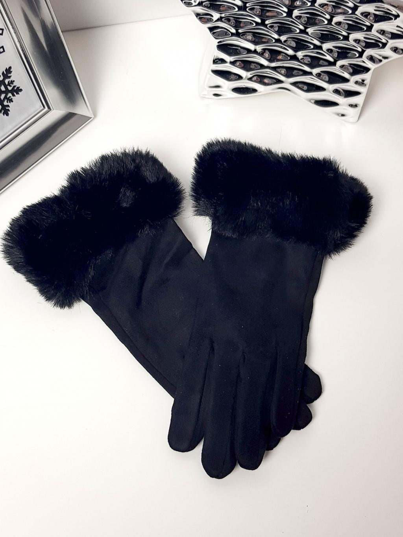 Rukavice black s kožíškem