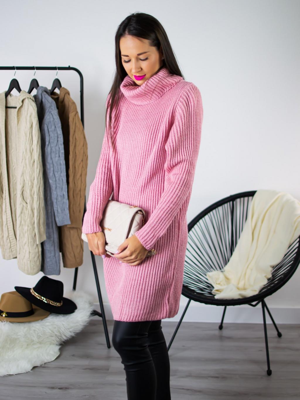 Rolákové šaty Gira pink
