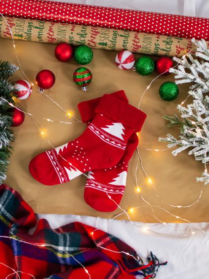 Froté ponožky Tree red