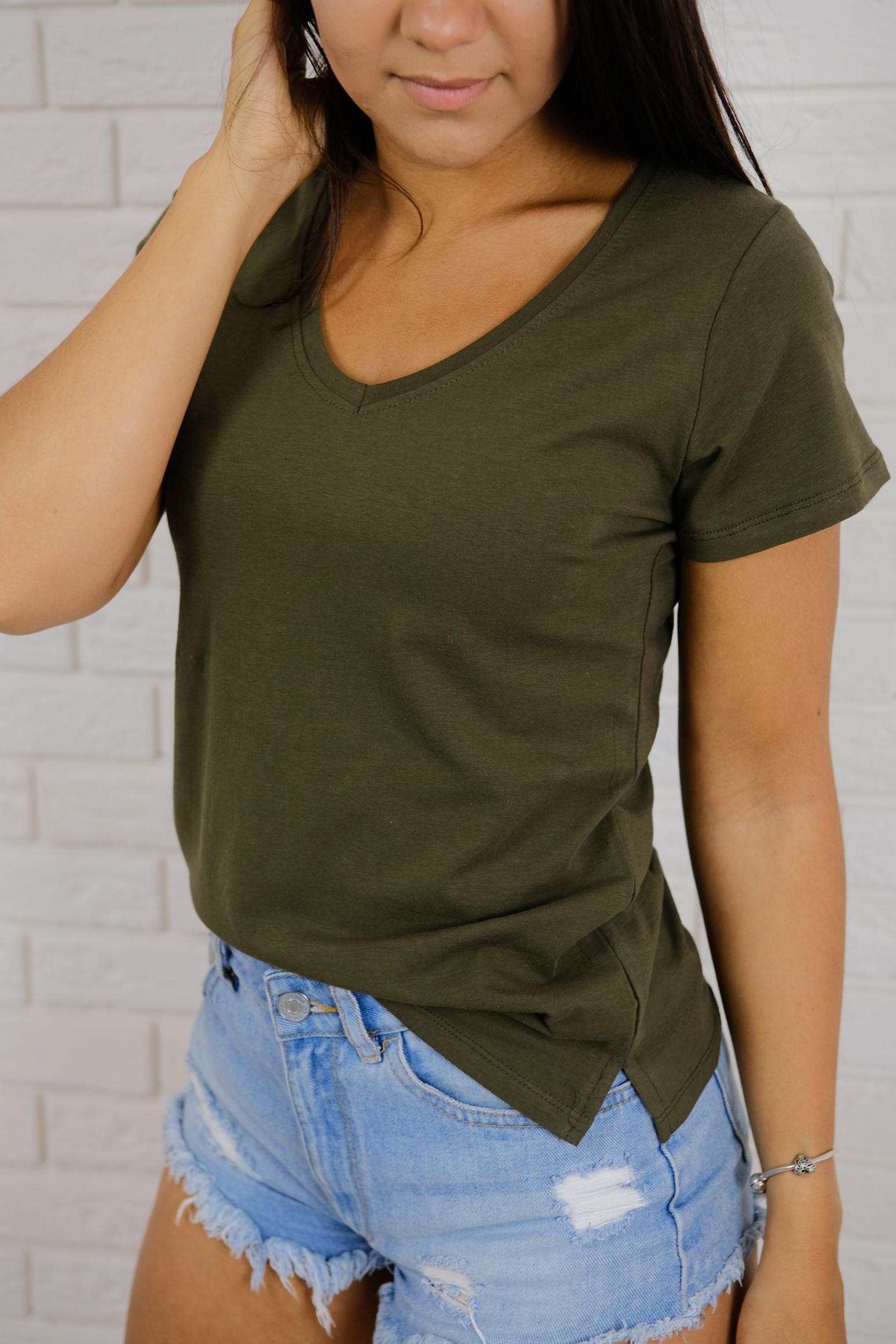 Levně Tričko Basic khaki Velikost: XL