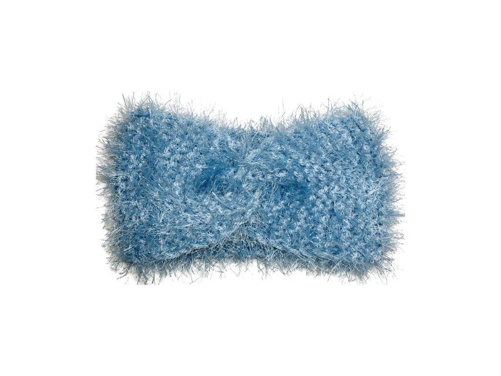 Chlupatá světle modrá čelenka uzel