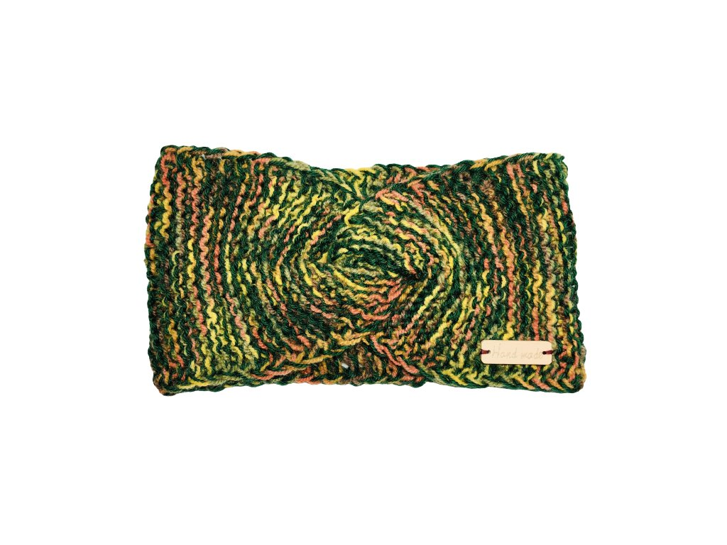 Zelenožlutá čelenka uzel