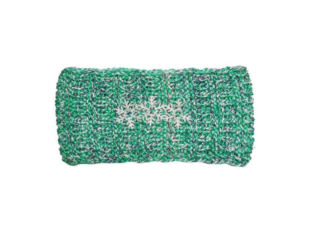 Zelenošedá rovná pletená čelenka s vločkami