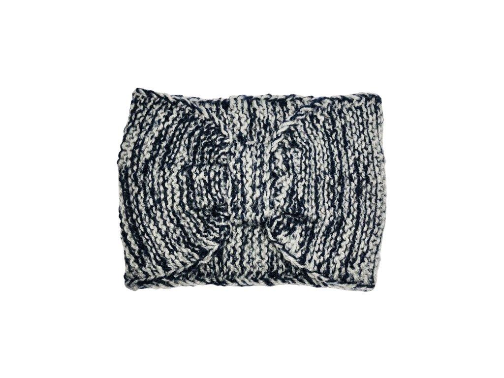 Černošedá pletená čelenka mašle
