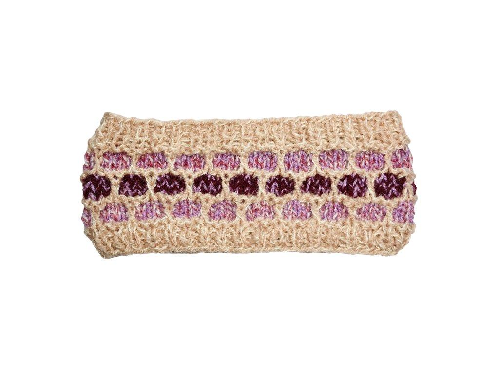 Starorůžová rovná pletená čelenka