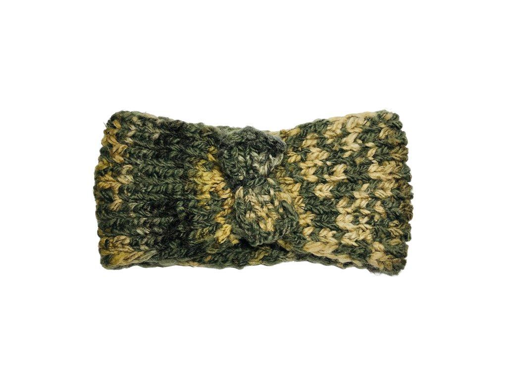 Maskáčová pletená čelenka