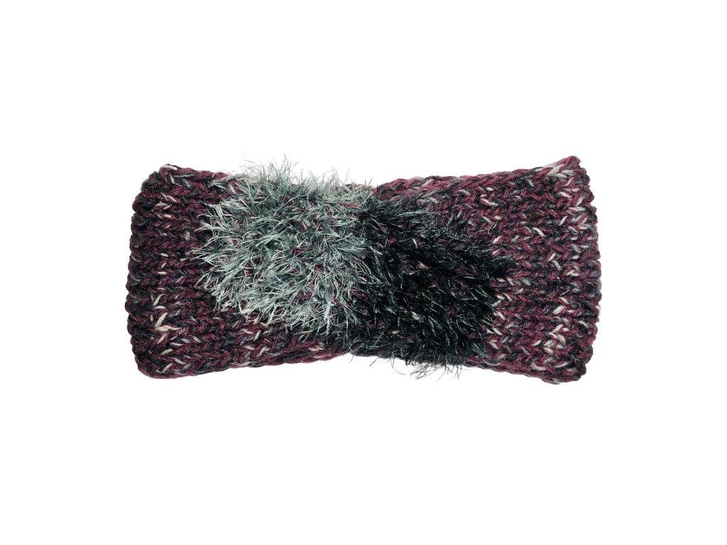 Fialová pletená překládaná čelenka