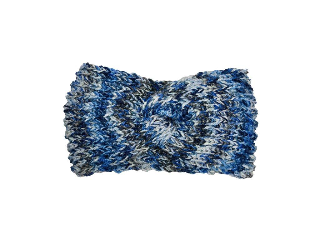 Modrošedá pletená čelenka uzel