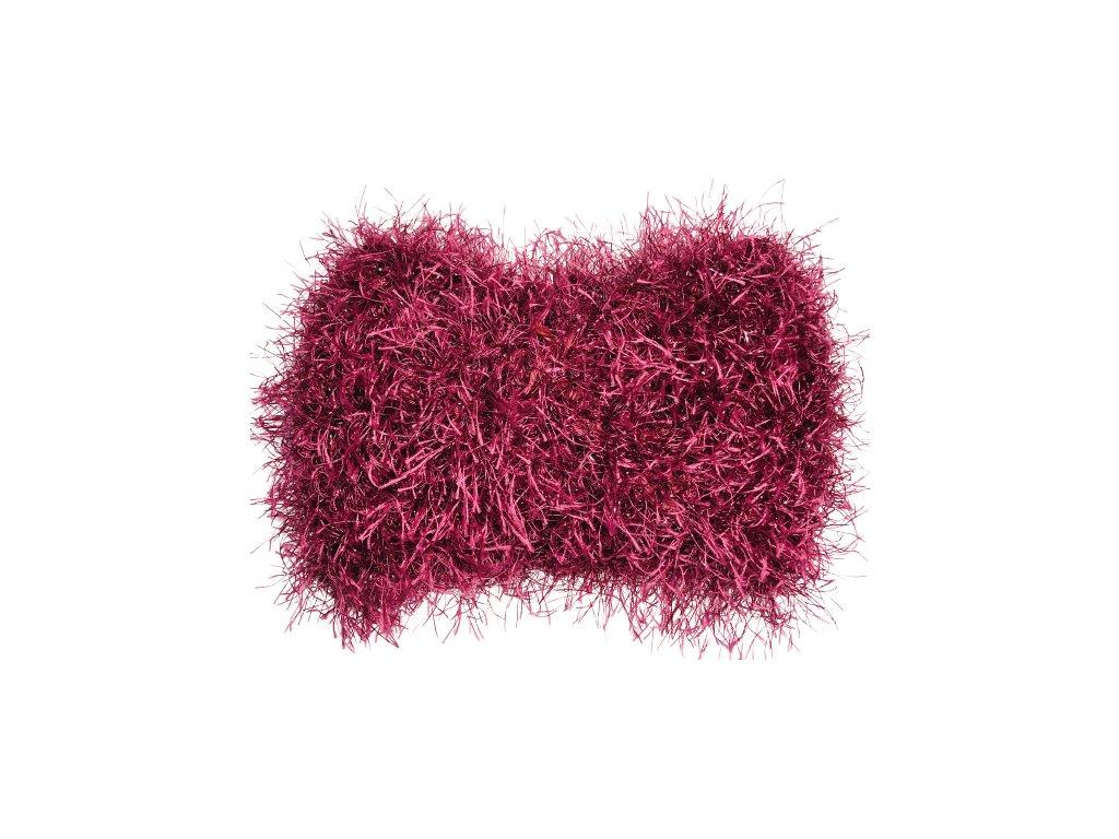 Chlupatá vínově červená pletená čelenka uzel