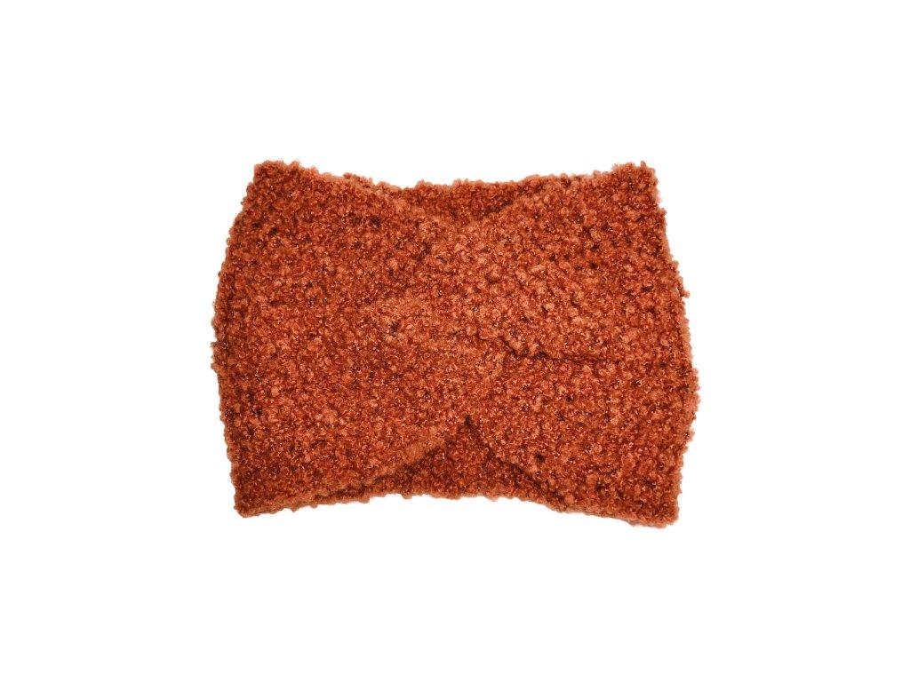 Cihlově oranžová pletená čelenka uzel