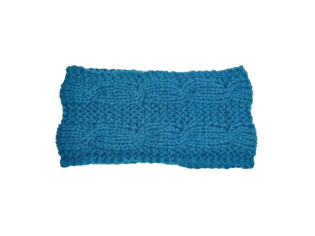 Modrá pletená čelenka s copy