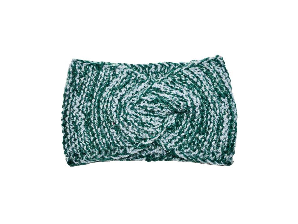 Zelenošedá pletená čelenka uzel