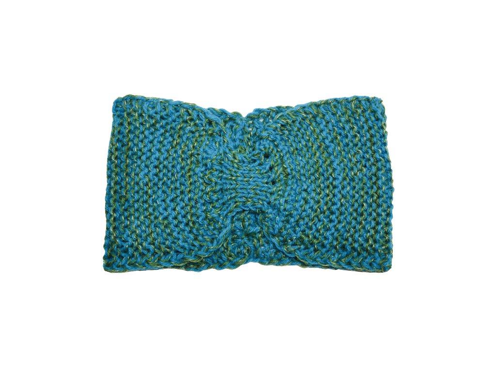 Zelenomodrá pletená čelenka mašle