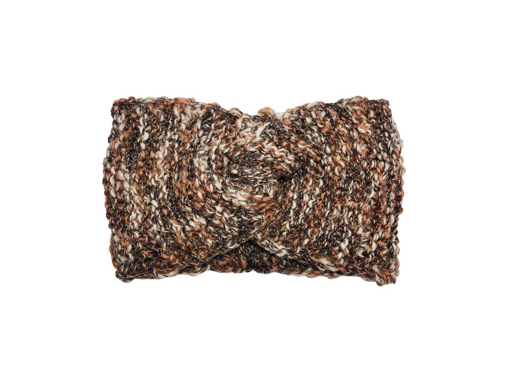 Hnědobílá pletená čelenka uzel