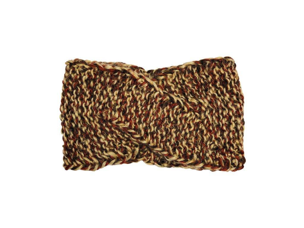 Vícebarevná hnědá pletená překládaná čelenka