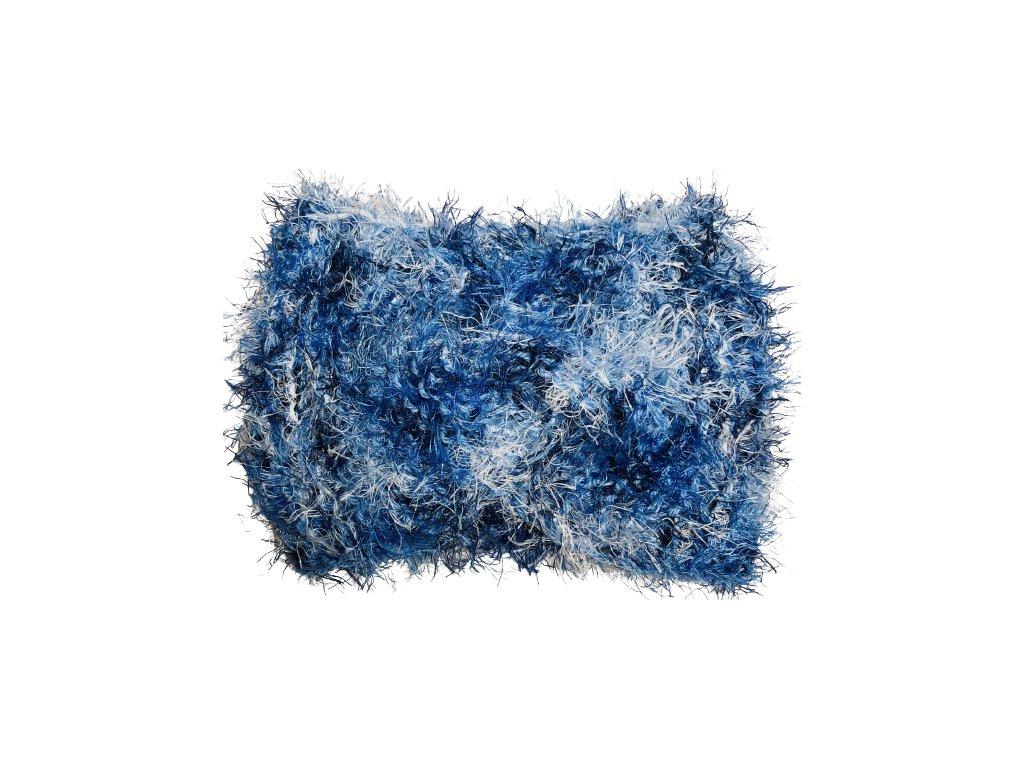 Modrobílá chlupatá pletená čelenka uzel