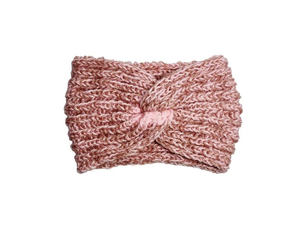 Světle růžová pletená čelenka uzel